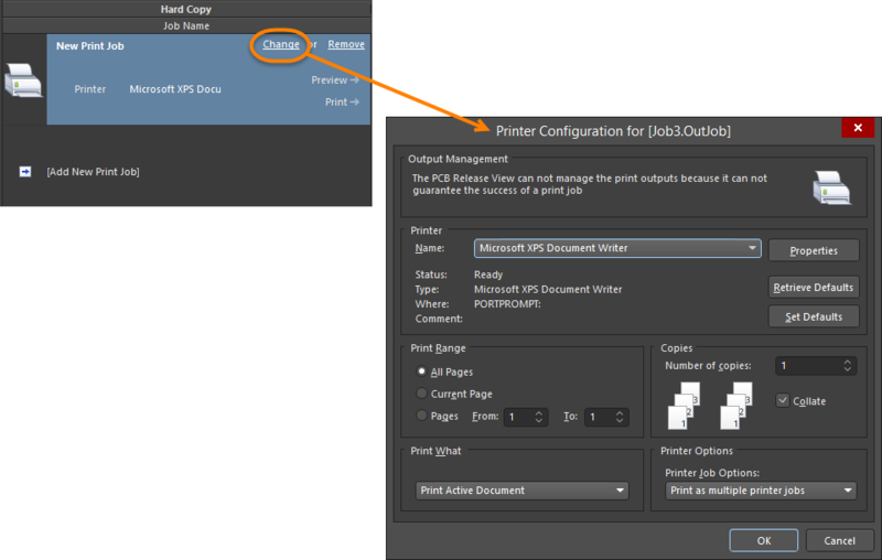 Access the Printer Configuration dialog to configure the Print Job as required.