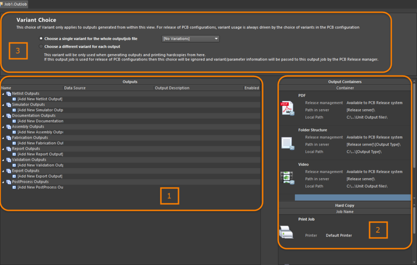 Constituent elements of the OutJob, all defined and managed within the OuputJob Editor.