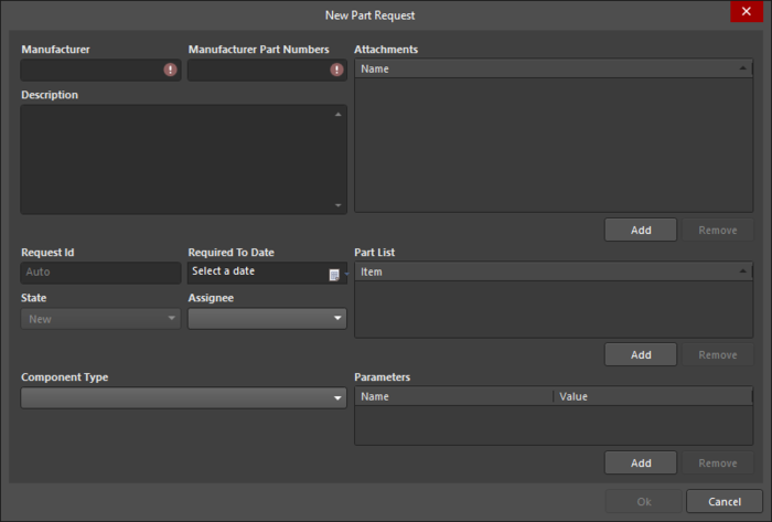 The New Part Request dialog