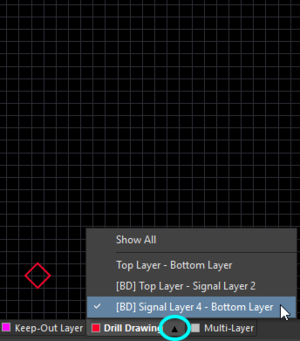 Left-click the triangle icon to select which drill pair you want displayed.
