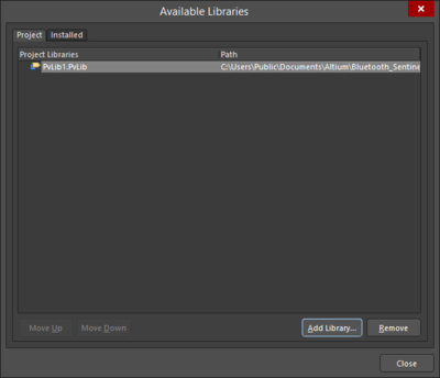 The Project tab of the Add-Remove Paid Via Libraries dialog