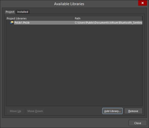 The Add-Remove Pad Via Libraries dialog