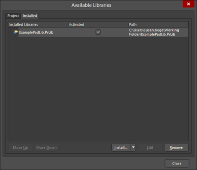 The Installedtab of the Add-Remove Paid Via Libraries dialog