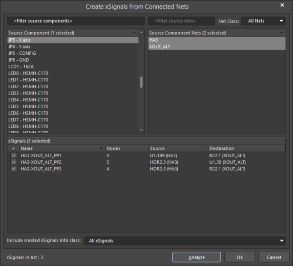 The Create xSignals from Connected Nets dialog