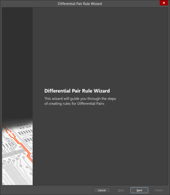 The opening page of the Differential Pair Rule Wizard