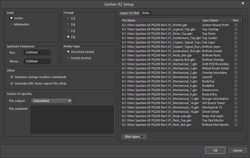 The Gerber X2 Setup dialog