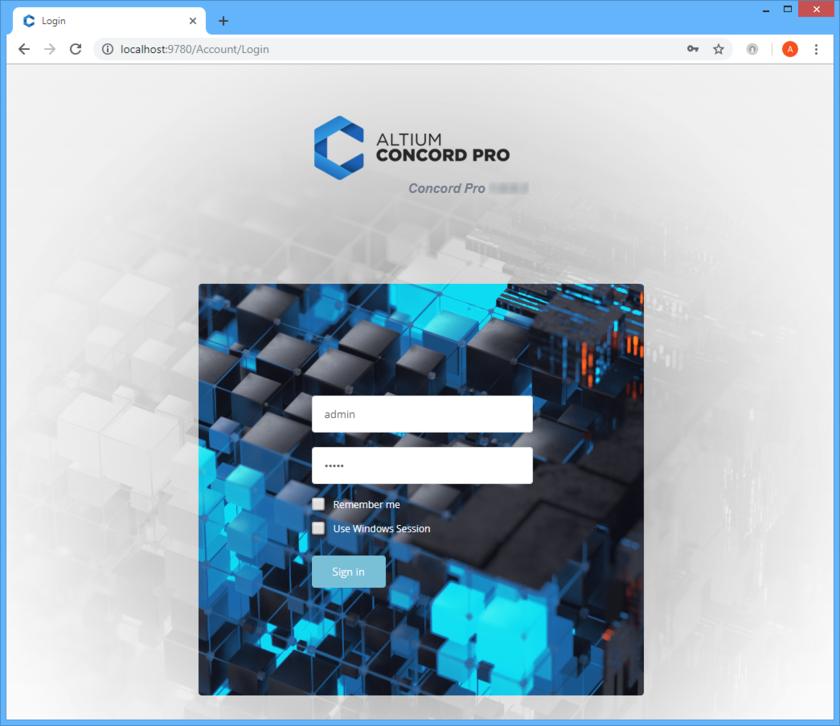 Войдите в Altium Concord Pro и связанные с ним службы через предпочтительный внешний веб-браузер. Наведите курсор мыши на изображение, чтобы увидеть результат успешного входа в интерфейс.