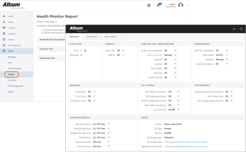 Интерфейс Health Monitor предоставляет быстрый обзор состояния сервера Concord Pro и его инфраструктуры, а также ссылки на более подробную информацию. Многие ошибки и предупреждения, обнаруженные средством Heath Monitor сервера Concord Pro, сопровождаются ссылками, которые могут помочь решить проблему. Они содержат в себе подробную информацию, доступную по нажатию на записи состояния.