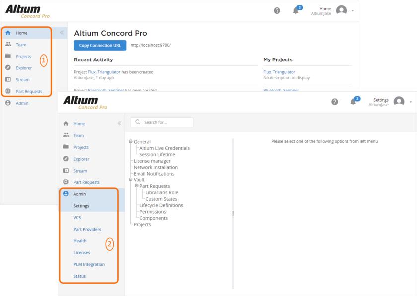 Весь веб-интерфейс можно разделить на два отдельных набора элементов, которые доступны всем пользователям Altium Concord Pro и которые доступны только администраторам Concord Pro.