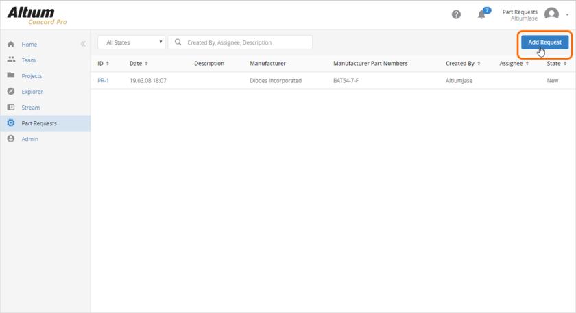 Добавление нового запроса на компонент через веб-интерфейс Concord Pro. Наведите курсор мыши на изображение, чтобы увидеть форму для отправки подробной информации запроса.