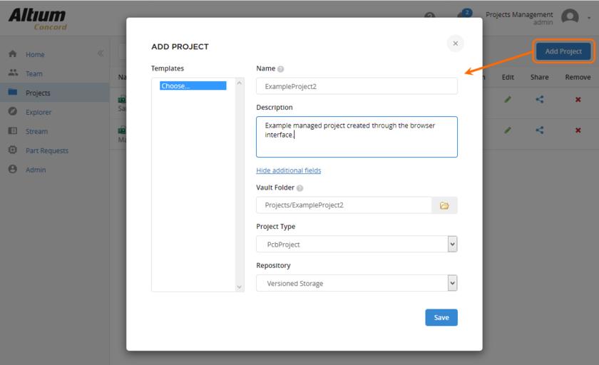 Определение нового управляемого проекта непосредственно через веб-интерфейс сервера.