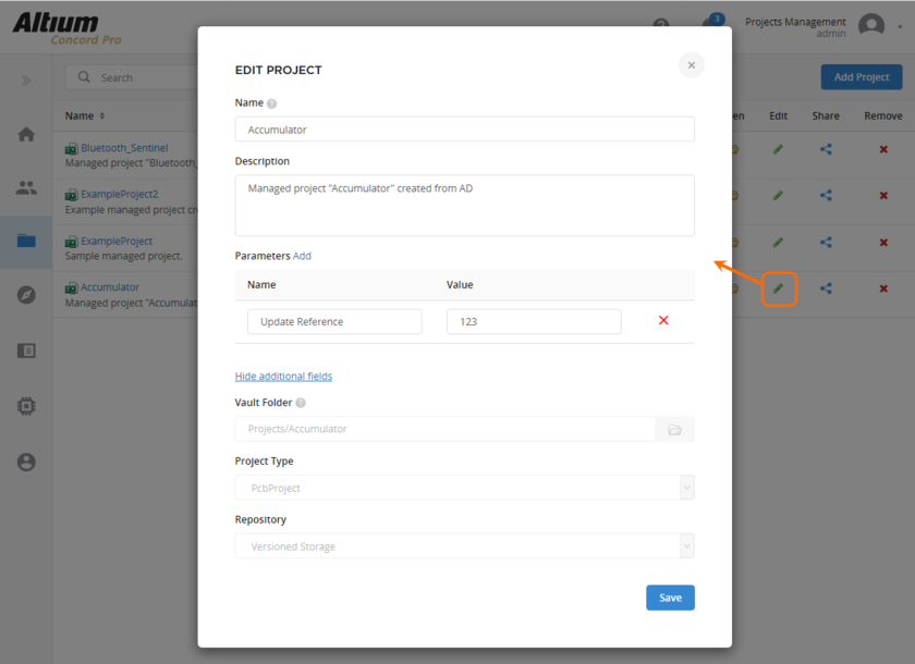 Вы можете изменить имя (Name), описание (Description) и серверные параметры (Parameters) управляемого проекта на любом этапе.