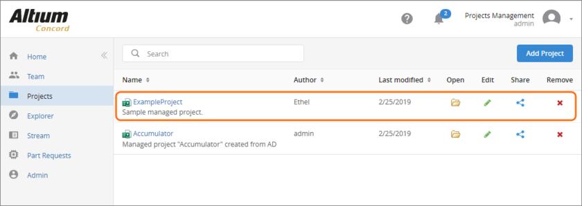 Новый управляемый проект, отображаемый на странице Projects.