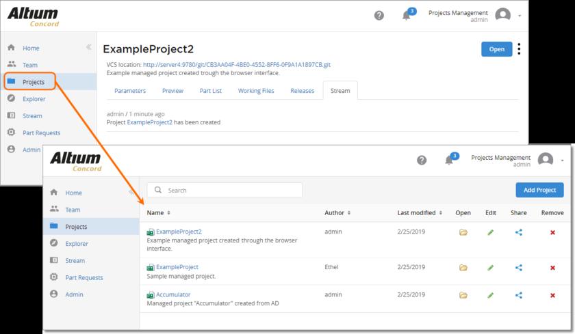 Новый управляемый проект был создан через веб-интерфейс. Нажмите Projects в дереве навигации, чтобы вернуться из подробной информации о проекте к общему списку проектов.