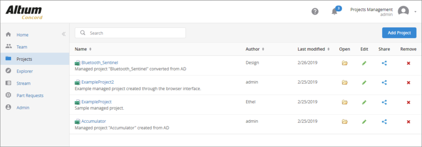 Страница Projects веб-интерфейса Concord Pro – центр управления проектами.