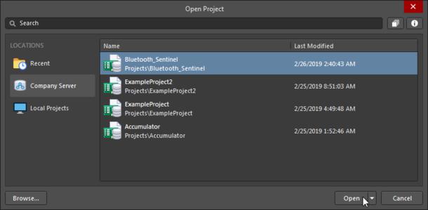 В Altium Designer выберите, какой доступный вам управляемый проект необходимо открыть.