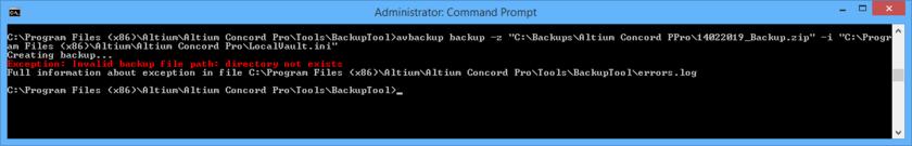 При создании или восстановлении резервной копии установки Altium Concord Pro сообщения об ошибках отображаются в окне командой строки вместе с расположением журнала ошибок errors.log.