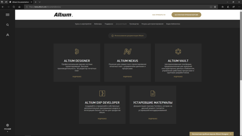 Главная страница открывает доступ к различным разделам документации.