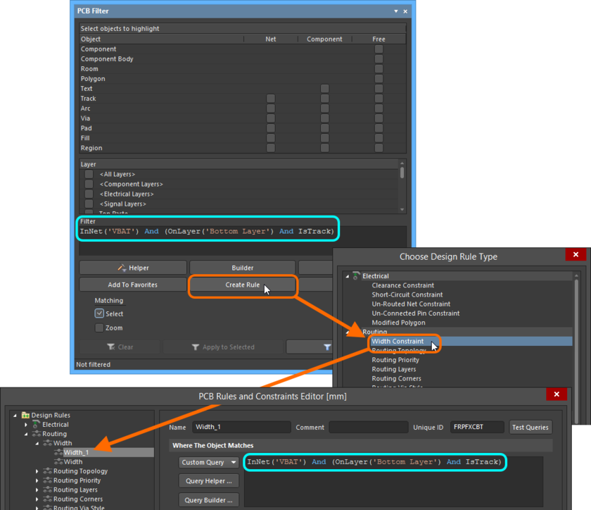 Create a new design rule directly from the PCB Filter panel - the filter query expression is used as the scope for the rule.