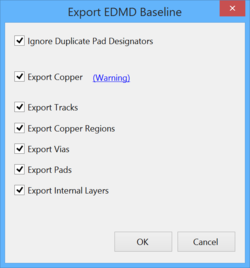 The Export Baseline dialog