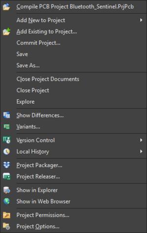 Типовое контекстное меню проекта