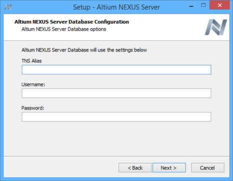 Specify access to your company's Oracle database, which will be used by the Altium NEXUS Server.