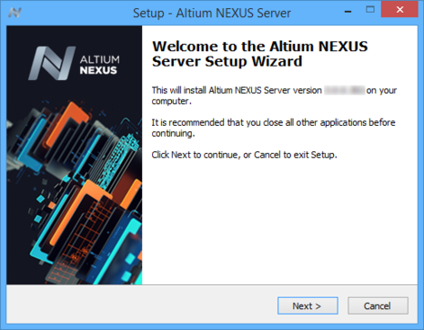 Initial welcome page for the Altium NEXUS Server Setup wizard.