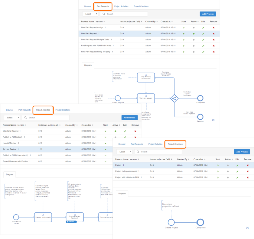 Create and manage process workflows for the three supported areas of the software - examples are provided as part of the installation of the NEXUS Server to get you up and running.