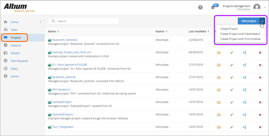 Accessing activated Project Creations definitions from the main Projects area of the NEXUS Server's browser interface.