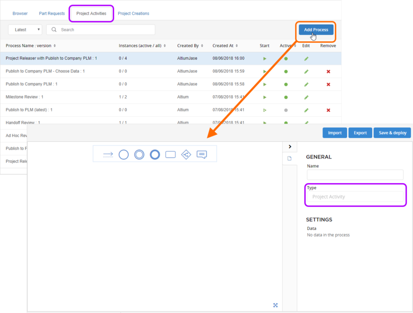 Accessing the Process Workflow Editor. Ensuring the desired process theme is made active before access will ensure the new process definition will be set to the right theme type.