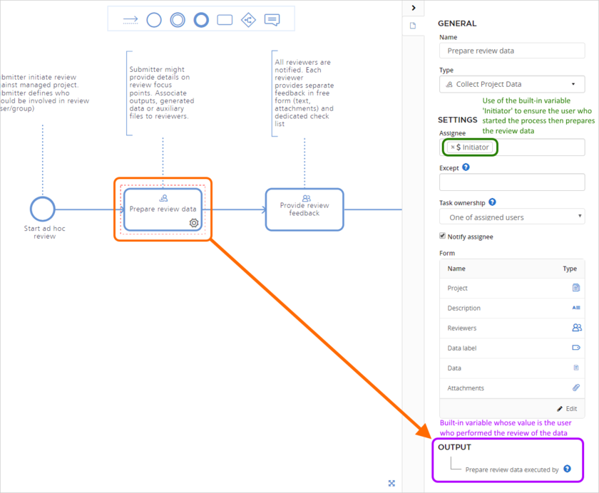 Example built-in variables - the Initiator variable used to define the assignee for the task, while the Prepare review data executed by variable will be generated by the task upon completion.