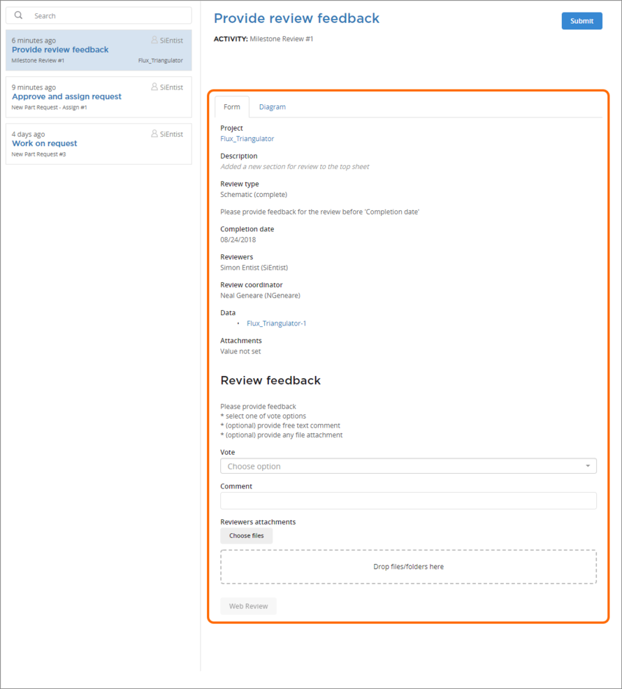 Example form for a user task associated with a design review process (Milestone Review). Hover the mouse over the image to see an example form for a part request process (New Part Request – Assign).