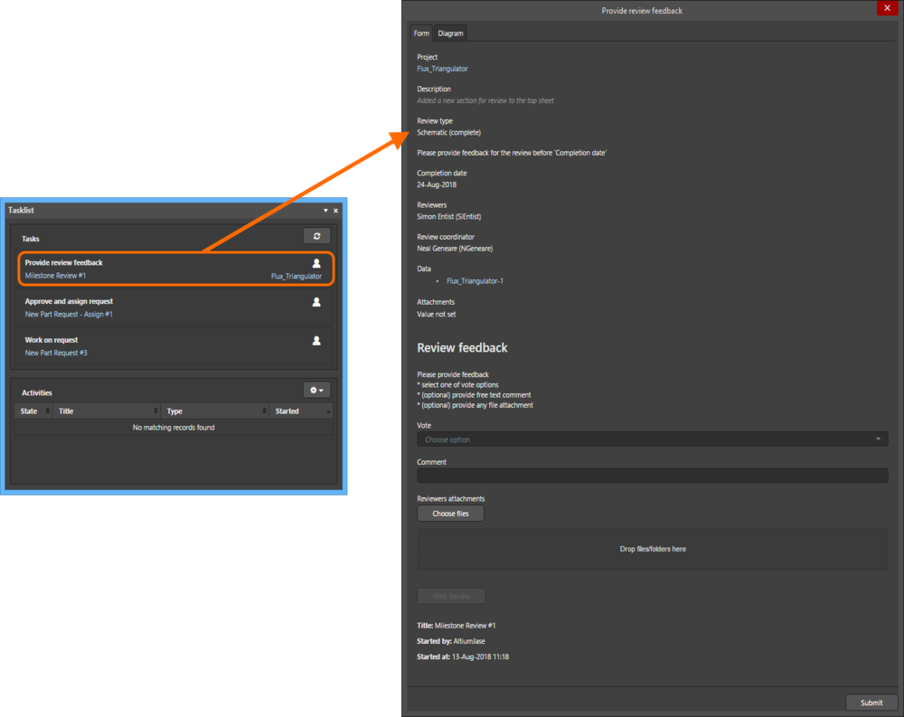 Example form for a user task associated with a design review process (Milestone Review), when accessed from the Tasklist panel in Altium NEXUS.