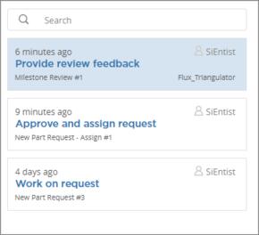 Example listing of outstanding tasks for user SiEntist.