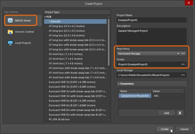 Setting up to create a new Managed Project from within Altium NEXUS, courtesy of the New Project dialog. Note that only those central Design Repositories  that are shared with you will be available for selection from the Repository field.