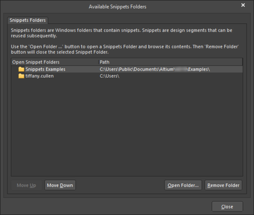 The Available Snippets Folders dialog