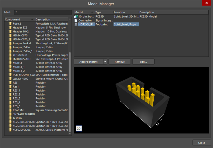 The Model Manager dialog
