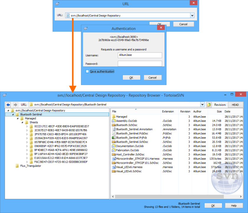 Browsing the content of a Design Repository created through the Altium NEXUS Server installation's local SVN-based Version Control service. In the example above, the repository contains  a couple of Managed Projects, providing the ideal foundation for centralized project management, and controlled collaboration between team members.