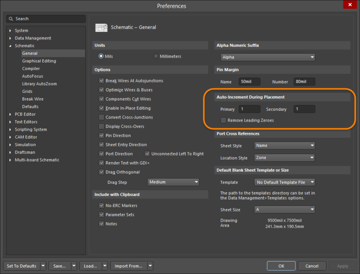 Use the Schematic - General page of the Preferences dialog to define auto-increment behavior.