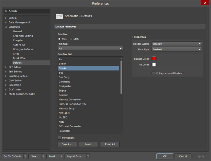 Use the Schematic - Defaults page of the Preferences dialog to define default settings for all schematic symbols.