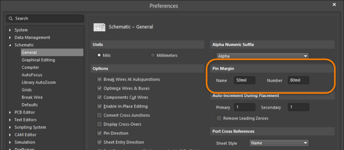 Set the distance of the pin text (Pin Margin) in the Preferences dialog.