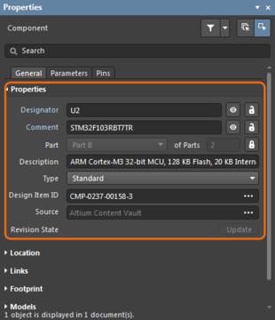 Слева: системные параметры компонента в панели Properties. Справа: отдельный системный параметр в панели Properties.