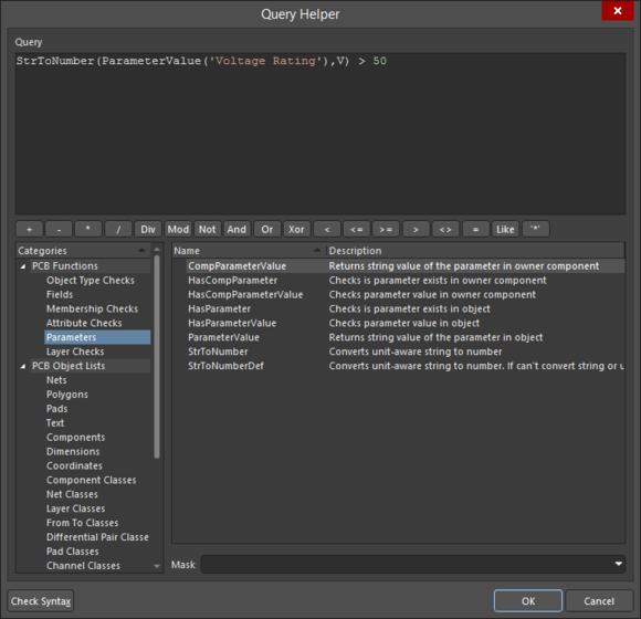 Для работы с параметрами посадочных мест компонентов доступно несколько ключевых слов запросов параметров.