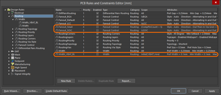 Example disabled rules, appearing in grey font within a summary list.