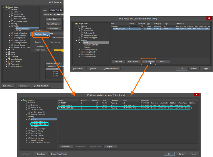 Streamline creation of similar rules using the rule duplication feature.