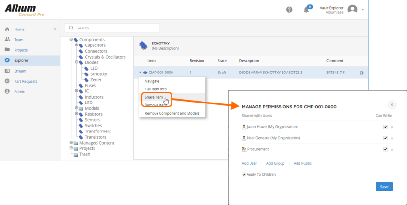 Configure Item-level sharing from the server's browser interface.