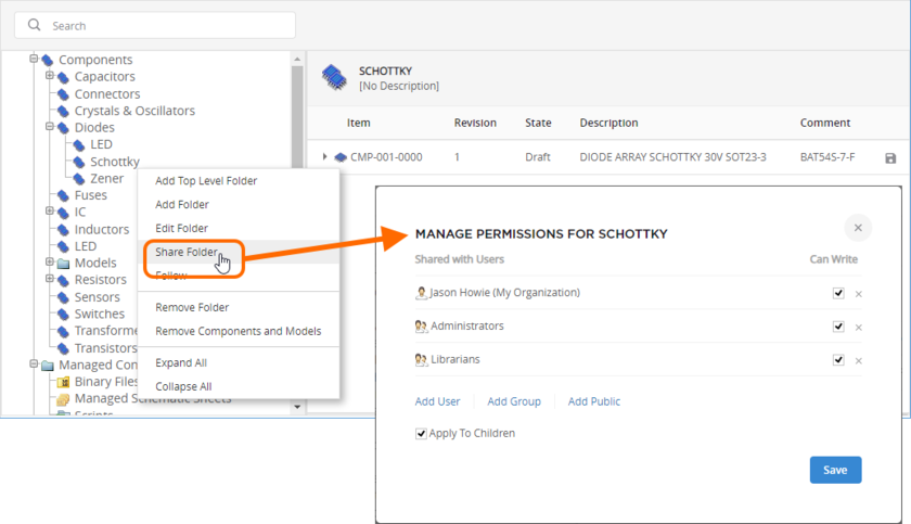Configure folder-level sharing from the server's browser interface.