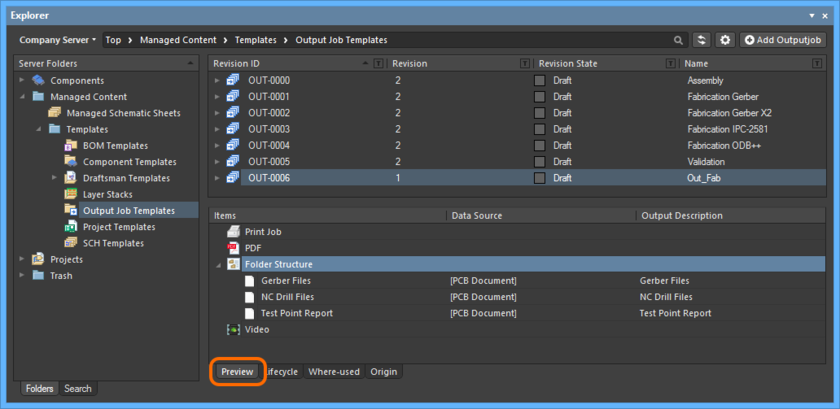 Browse the released revision of the Outputjob Item, back in the Explorer panel. Switch to the Preview aspect view to see the outputs contained within the configuration.