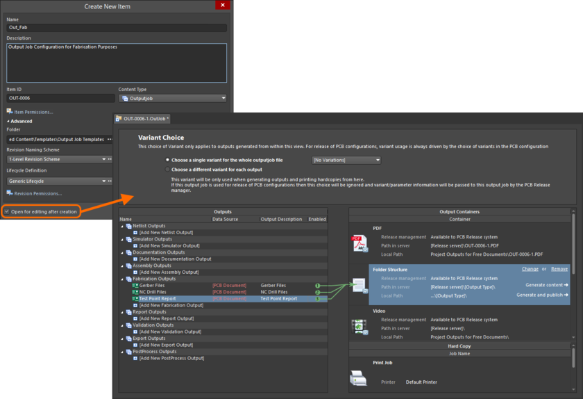 Example of editing the initial revision of an Outputjob Item, directly from the managed content server - the temporary Outputjob Editor provides the document with which to define your configuration.