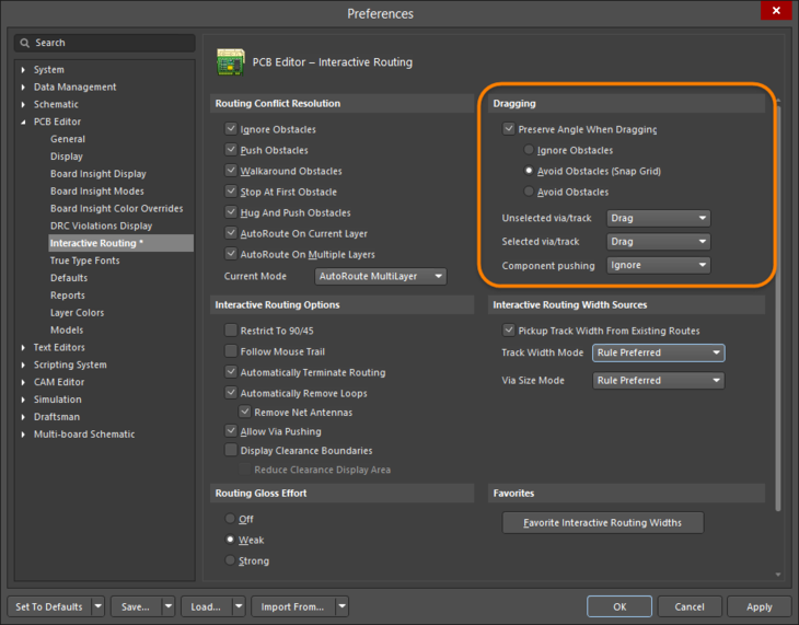 Control track sliding behavior with dragging options set at the Preferences level.